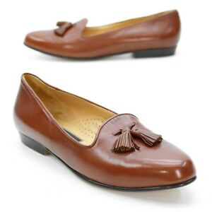 8e921bc0093 Cole Haan Ladies 9.5 AA Brown Leather Tassel Loafer Slip on Italy ...