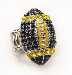Pittsburgh Steeler Fan Black Gold Jewelry Rhinestone Football Womens