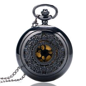 Antique-Hollow-Quartz-Pocket-Watch-Steampunk-Black-Necklace-Pendant-Chain
