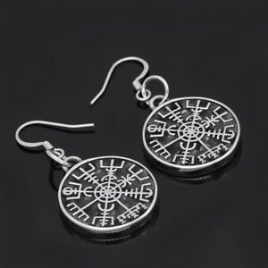 316L-Stainless-Steel-Viking-Runic-Compass-Vegvisir-Amulet-Earrings-Gift-Bag