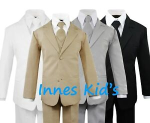 Formal-Kids-Toddler-Boys-Suit-5-pieces-Set-with-Vest-and-Tie-Choice-of-Colors