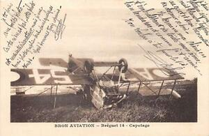 CPA-69-BRON-AVIATION-BREGUET-14-CAPOTAGE-cliche-pas-courant-ACCIDENT