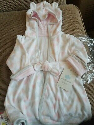 New Cloud Island Infant Girl Robe Sleepwear With Ears /& Hearts Size 6-9M