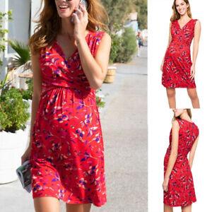 Women-Maternity-Pregnancy-Nursing-Summer-Floral-Sundress-V-Neck-Sleeveless-Dress