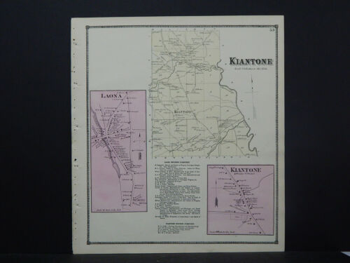 New York, Chautauqua County Map, 1867 Kiantone Township, Kiantone, Laona W17#22