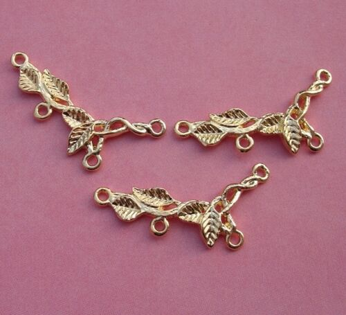 Branch Leaf Link Connector Charm Gold Plated Four Loops 2pcs.