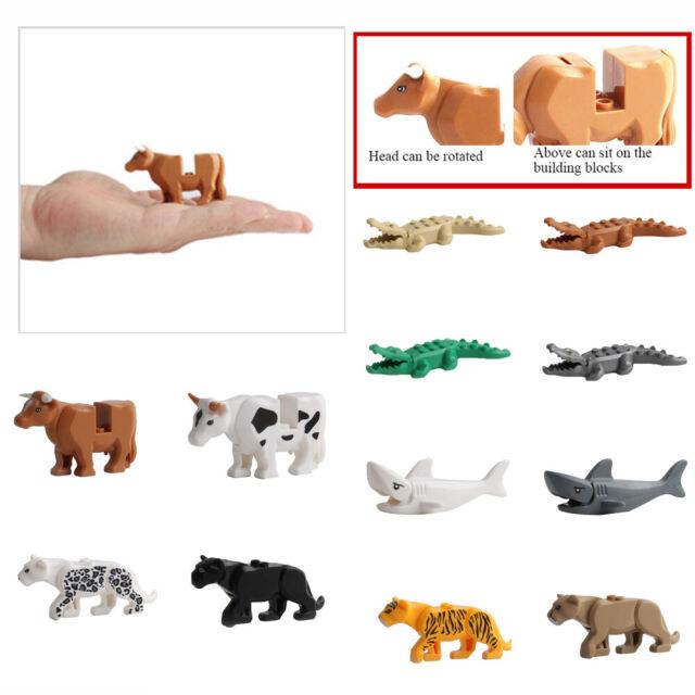 12PCS Crocodile Tiger Cow Animal Buildable Model kids Animal Building Block Toy