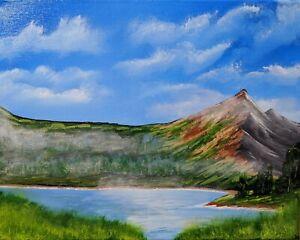 Misty Mountains (Original Acrylic Painting on Canvas)