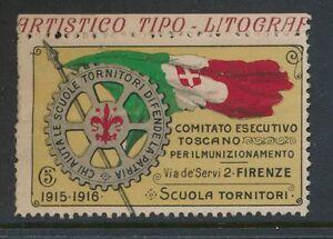 ITALY 1915-16 WW1 FIRENZE ROTARY 5c CHARITY FUND LABEL INSCRIPTIONAL
