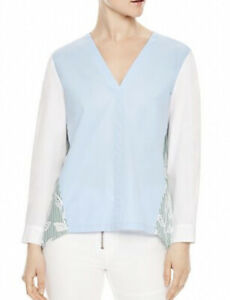 Sandro-Top-3-Aria-Color-Block-Lace-Inset-Blouse-Blue-Green-White-Eyelet-NWT-280
