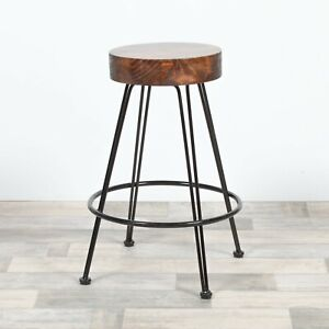 Stupendous Details About Round Industrial Hairpin Metal Black Bar Stool Wooden Top Kitchen Machost Co Dining Chair Design Ideas Machostcouk