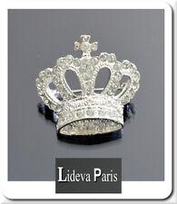 Luxus Brosche Vintage  Krone Aristokratie Braut  Kristall  Silber/Klar Premium