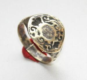 Ancient Bronze Finger Pseudo-Heraldry Seal Ring (FBR01)
