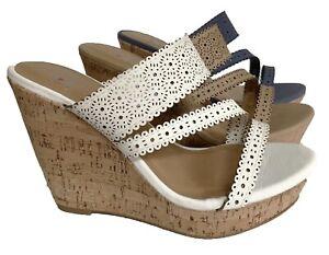 Delicious-Good-S-womens-white-beige-blue-platform-wedge-slides-sandals-shoes