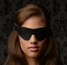 LEATHER PADDED BLINDFOLD snap on strap costume prop soft eye cover mask black