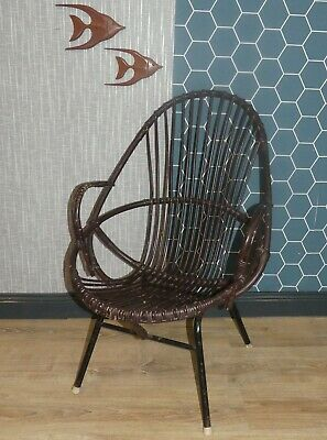 60er Rattan Lounge Chair Braun Metallgestell Schwarz Weidenmöbel Sessel Modische Und Attraktive Pakete