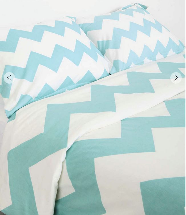 Abstract Geometric Tidal Wave Green bluee Queen Duvet Doona Bed Quilt Cover Set