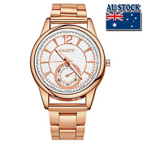 Hot-Luxury-Men-039-s-Rose-Gold-Minute-Stainless-Steel-Gold-Plated-White-Dial-Quartz