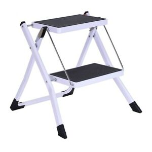 2nd Stage Folding Step Stool Steel Ladder With Handle Anti-slip Solid Wide Pedal