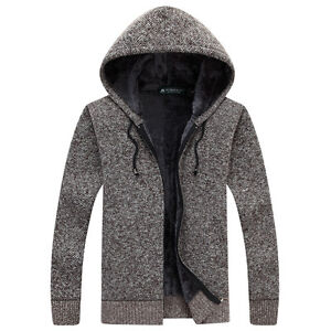 Winter-Men-039-s-Fur-Lining-Thicken-Cardigan-Sweater-Warm-Knitted-Hooded-Coat-N08