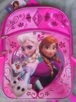Disney Frozen Elsa Anna Sparkly Backpack Lunchbox +folder Book Bag Lunch Box