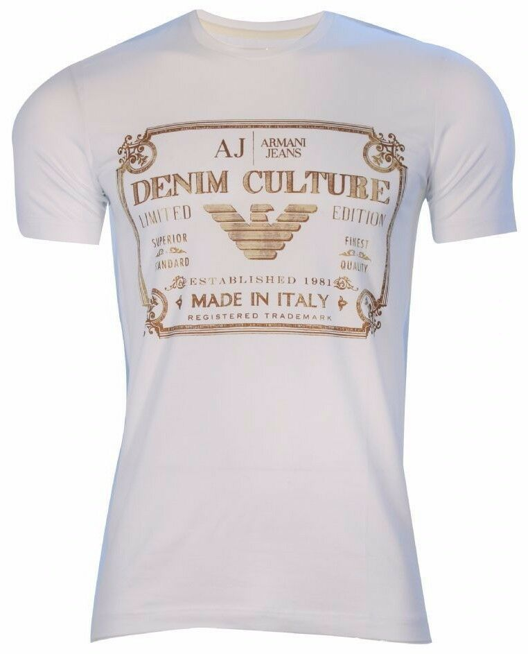 Armani Jeans Mens Gold Label Weiß H S Tshirt - Sz XXL & XXXL BNWT