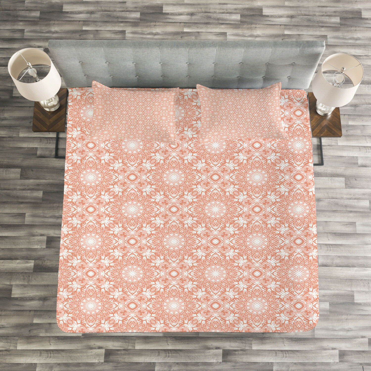 Coral Quilted Bedspread & Pillow Shams Set, Artistic Flourish Pattern Print