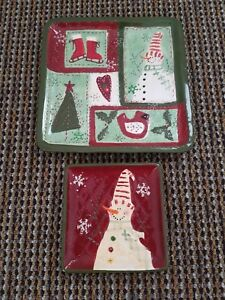 Cracker Barrel Christmas.Details About Cracker Barrel Christmas Quilt Square Ceramic Plate Set Snowman 6 And 10 Inch