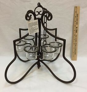 Chandelier-Votive-Candle-Holder-Prestige-Brown-Metal-w-Chain-Scrolled-Frame