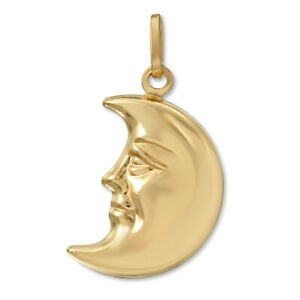 14k-Yellow-Gold-3D-Half-Moon-Face-Charm-Pendant