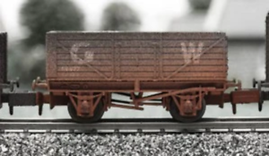 Dapol-2F-071-015-N-Gauge-7-Plank-Wagon-GWR-Weathered