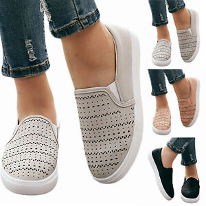 Womens-Comfy-Loafers-Shoes-Slip-On-Hollow-Gym-Sports-Running-Sneakers-Trainers