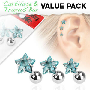 3-Pc-Aqua-Star-CZ-Ear-Cartilage-Daith-Tragus-Helix-Earrings-Barbell-Studs