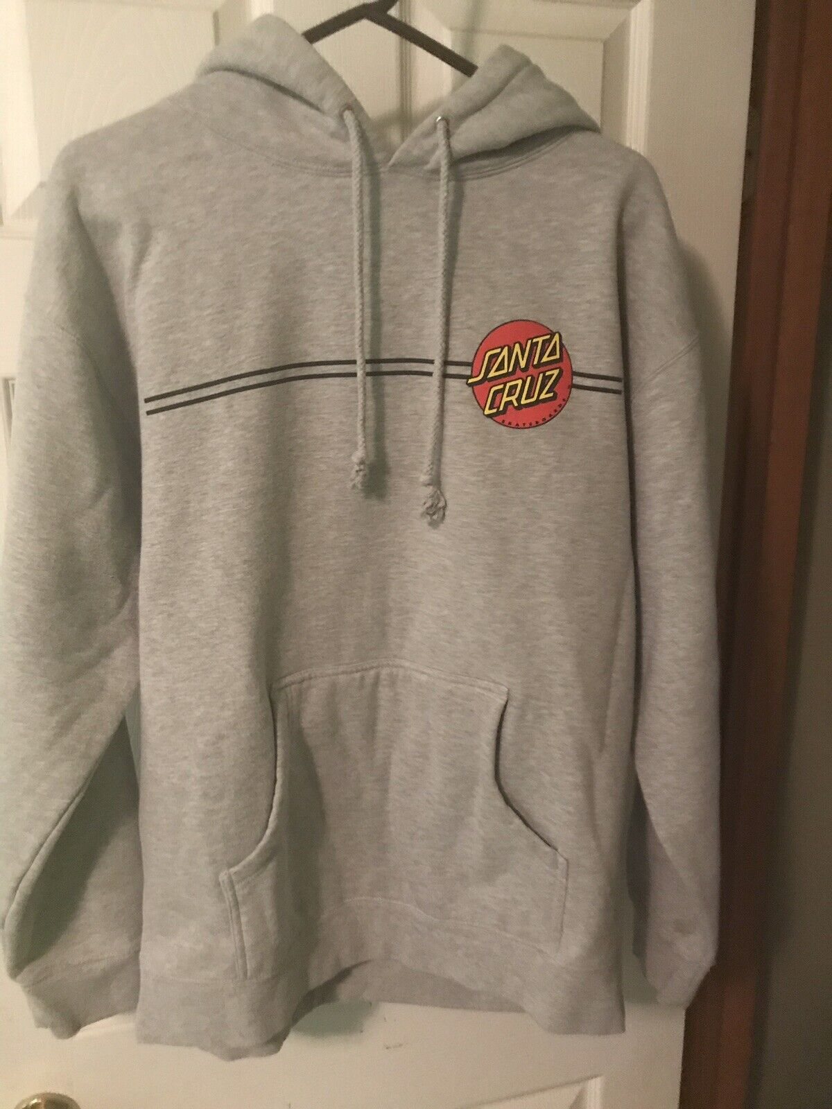 Men's Santa Cruz Dot Hoodie Grey  Size Large  fast shipping and best service