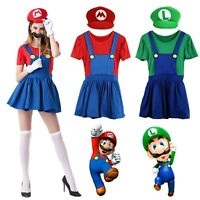 Mario and Luigi Costumes Adult Womens Super Plumber Bros Halloween Fancy Dress