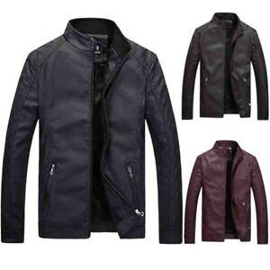 Men/'s Skull Printed Velvet Pu Leather Coat Zip Outwear Waist Length Jacket Hot 1