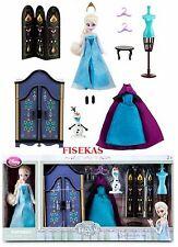 Disney Store Frozen Elsa Mini Doll Wardrobe Play Set 5.5 in Dresser Olaf  NEW