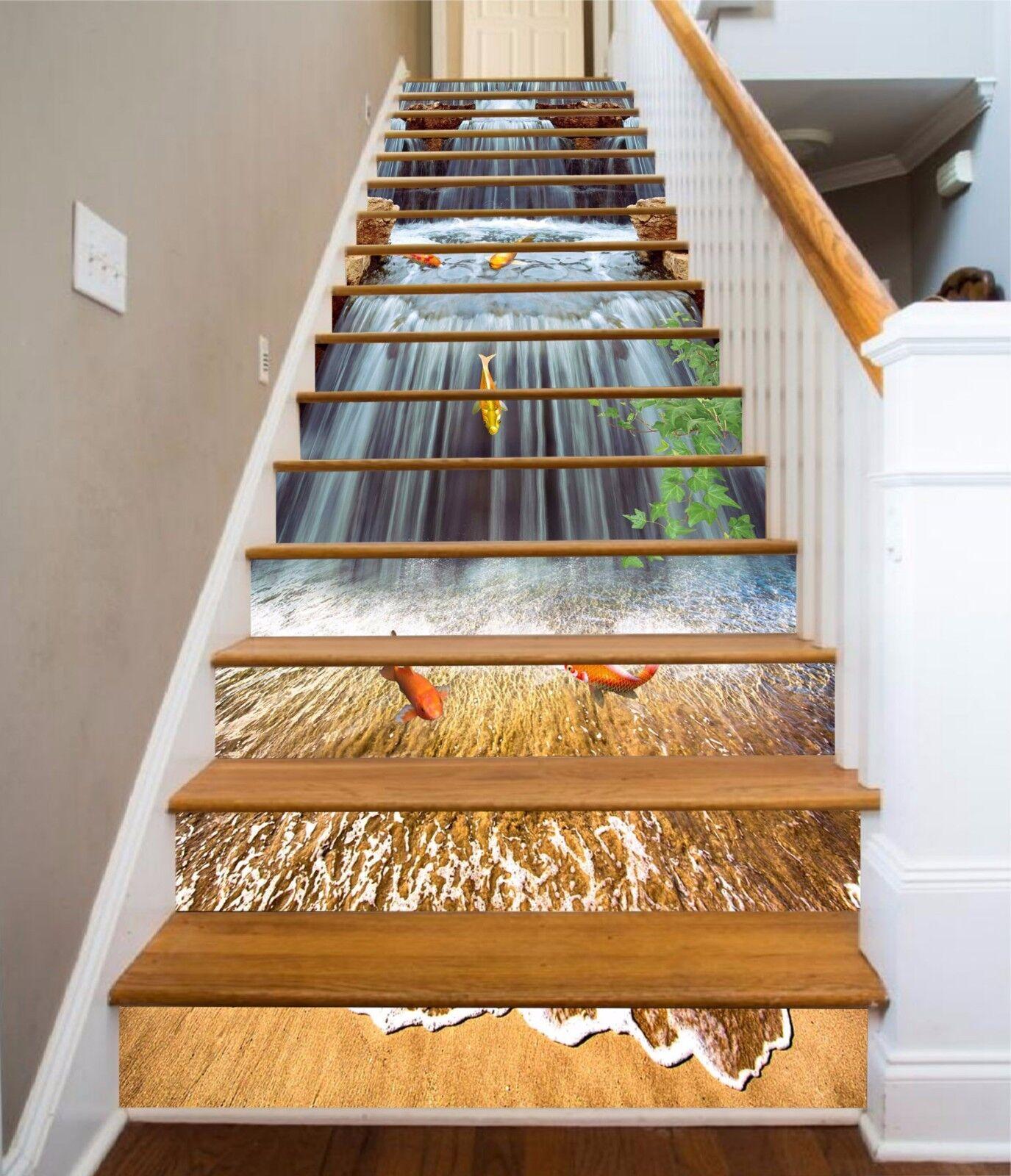3D Carp Waterfall 79Stair Risers Decoration Photo Mural Vinyl Decal Wallpaper AU