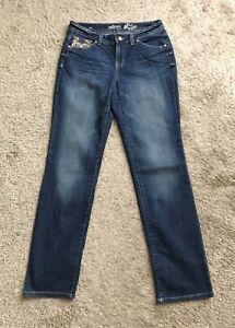 STYLE-amp-CO-Womens-Size-6-Curvy-Straight-Leg-Blue-Jeans-33-034-Inseam-Embellished