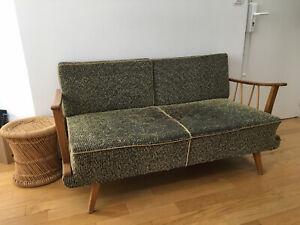 Détails sur Canapé scandinave vintage 70 boistissu vert texturé chenille convertible lit