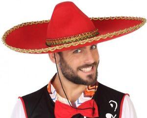 Chapeau-Mexicain-SOMBRERO-Rouge-Deguisement-Homme-Western-NEUF-Pas-cher