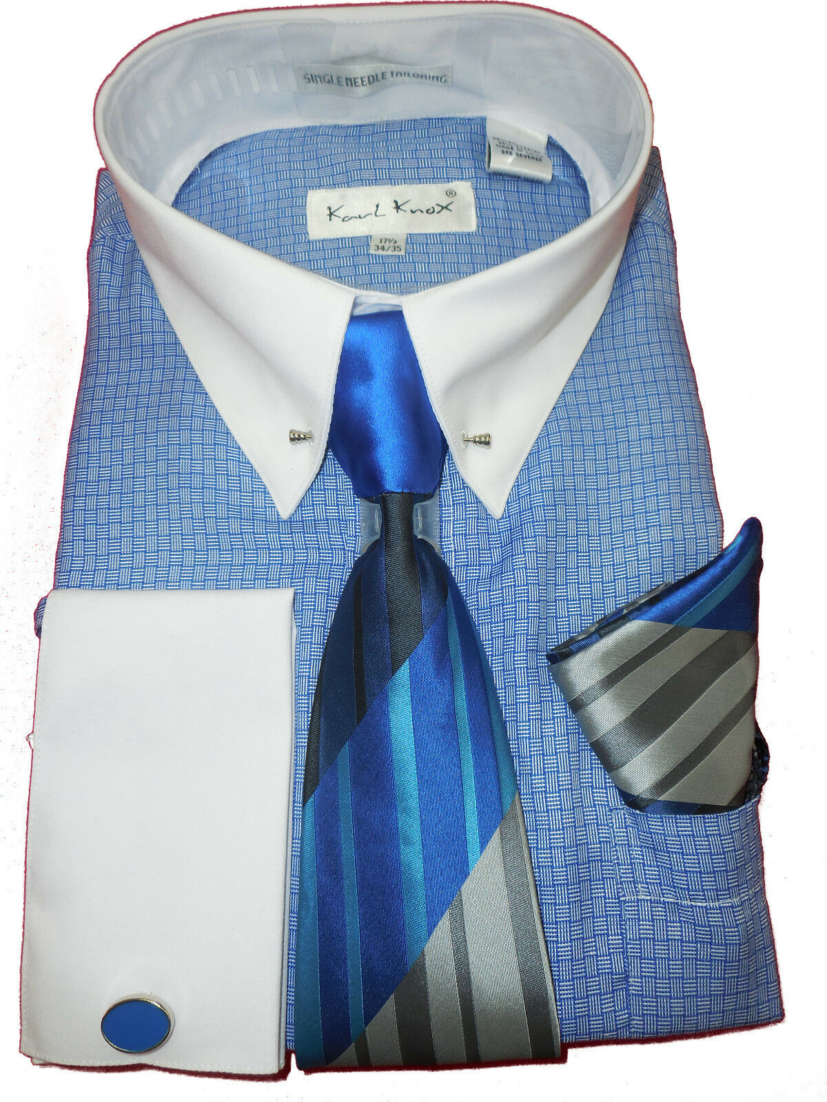 Tie Karl Knox 4389 Mens Royal Blue Club Collar Pin Bar French Cuff Dress Shirt