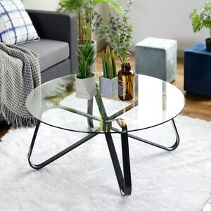 Clear Tempered Glass Round Coffee Table 40cm Height 80x80 Size
