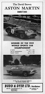 1960 Aston Martin DB4 & DBR1/300 Race Car Original Rare Ad