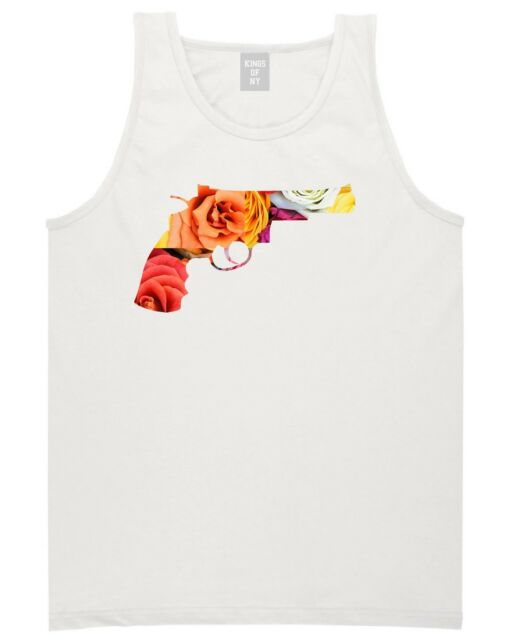 KINGS OF NY FLORAL GUN TANK TOP T SHIRT FLOWERS TRAP 45 NEW YORK LA AMMO BLACK