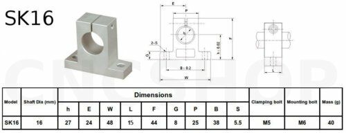 SK16 16mm SHAFT SUPPORT LINEAR BALL BEARING CNC ROUTER 3D PRINTER ROD RAIL GUIDE