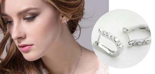 Solid 925 Sterling Silver Shiny Polished U Shape CZ Creole Hoop Earrings Gift