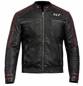 N7 COMMANDER SHEPARD STYLISH 100/% Real LEATHER JACKET MASS EFFECT 3