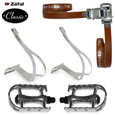 Hold foot kit black strap zefal Christophe leather strap pedalling velo vintage