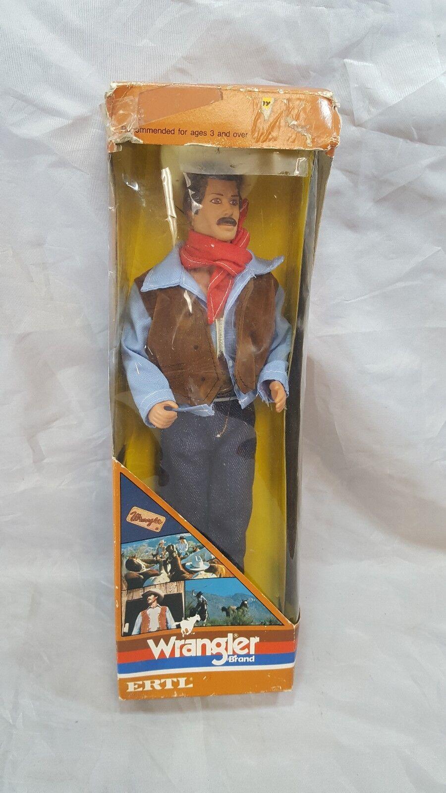 Vintage Ertl el Wrangler 12  Cowbow Acción Figura Muñeca desgaste occidental en Caja 1983